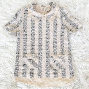 9 HI5 STCL Short Sleeve Knit Collared Top S